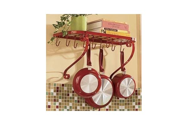 VDOMUS Red Kitchen Pot Rack