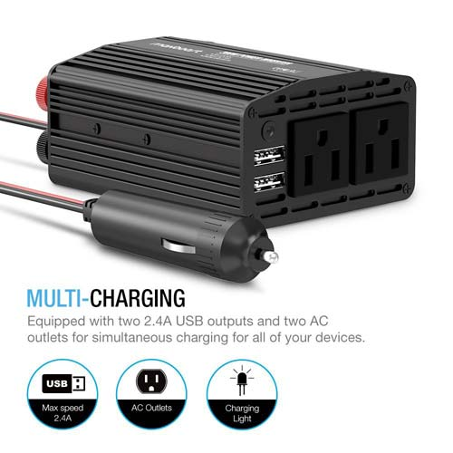 Maxboost Power Inverter 300W Dual 110V AC Outlet with USB Smart Ports Car Charger