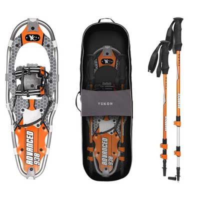 Yukon Charlie's Advanced 9 x 30 Inch Men's Snowshoe Kit with Poles and Bag, Orange