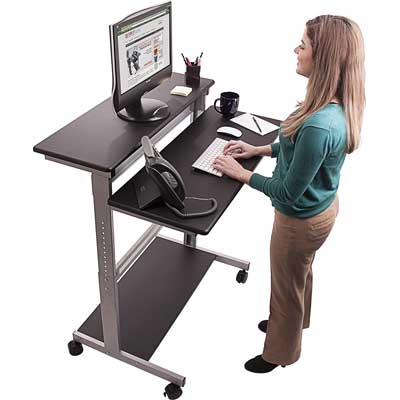 "Stand Up Desk Store 40"" Mobile Ergonomic Stand Up Desk"