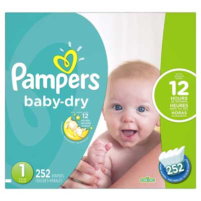 Pampers Baby-Dry Disposable Diapers Size 1, 252 Count