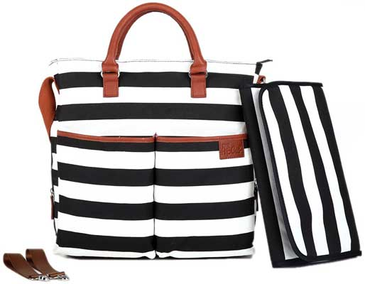 Diaper Bag by Hip Cub - Baby Changing Pad - Black /White Stripe W/ Cute Tan Trim