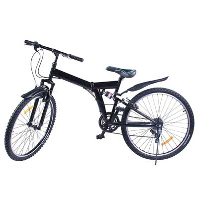 VEVOR Folding Mountain Bike 6/7 Speed Mountain Bike 26Inch Shimano Carbon Steel Folding Suspension Folding Bike Blue