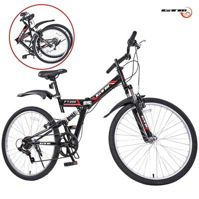 "GTM 26"" 7 Speed Folding Mountain Bike Bicycle Shimano Hybrid Suspension MTB"