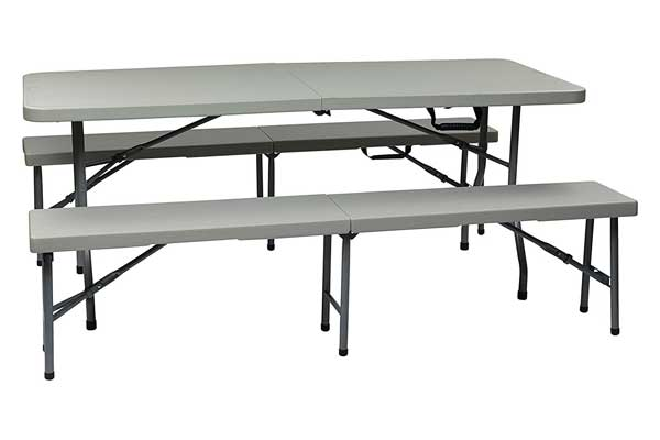 Office Star Resin 3-Piece Folding Bench and Table set