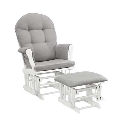 Angel Line Windsor Glider and Ottoman – White Wood Finish and Gray Cushion