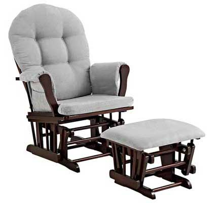 Angel Line Windsor Glider and Ottoman – Espresso with Gray Cushion