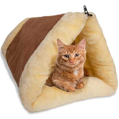 OxGord 2-in-1 Cat Pet Bed Tunnel Fleece Tube crate cage