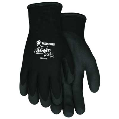 Memphis Glove N9690L Ninja Ice 15 Gauge Black Nylon Cold Weather Glove