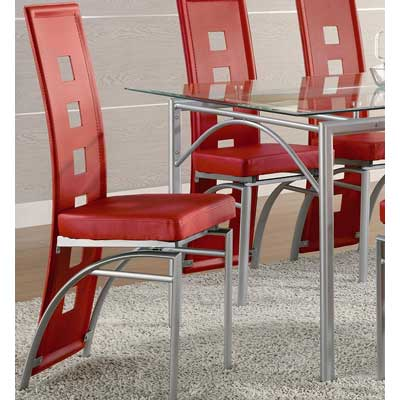 Coaster Set of 2 Dining Chairs Red Leather Like Metal Legs