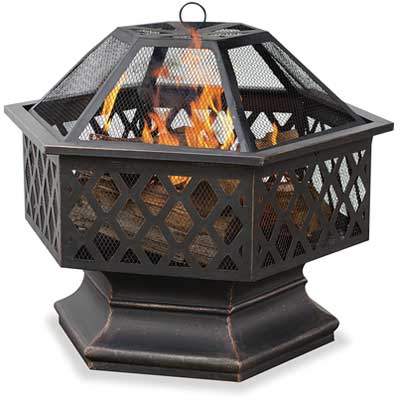 Endless Summer, WAD1377SP, Hex Shaped Outdoor Fire Bowl with Lattice