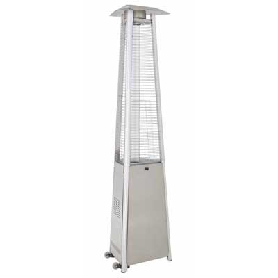 True Commercial Hammered Mocha Bronze 3 Sided Pyramid Style Quartz Tube Patio Heater