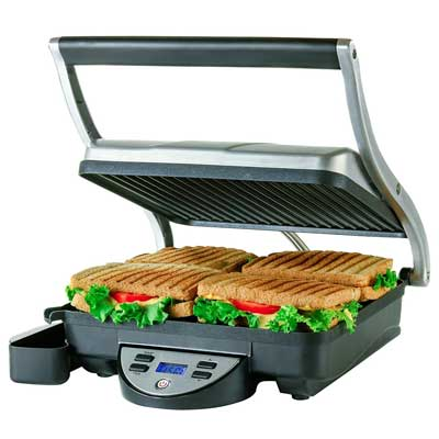 Ovente 4-Slice Digital Electric Panini Press Grill and Gourmet Sandwich Maker