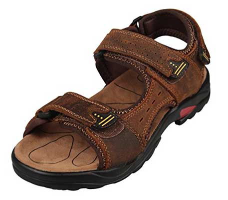 4How Men's Leather Sandal Outdoor Shoes