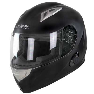 Hawk H-500 Flat Black Bluetooth Full Face Helmet