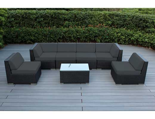 Ohana 7-Piece Outdoor Wicker Patio Furniture Sectional Conversation Set