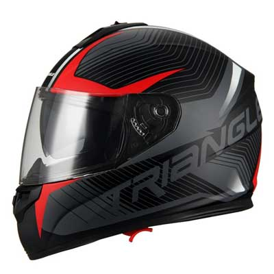 Triangle Full Face Dual Visor Matte Black Street Bike Motorcycle Helmet