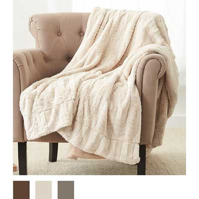 """Pinzon Faux Fur Throw Blanket 63"""" x 87"""", Ivory"""
