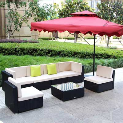 U MAX 7 Piece 7 12 Pieces Patio PE Rattan Wicker Sofa Sectional Furniture  Set