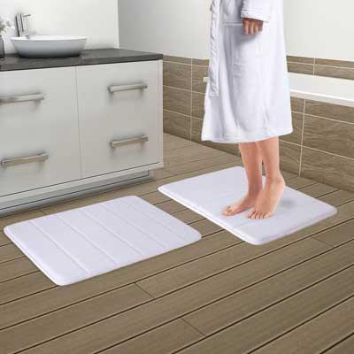 """Drhob 2Pcs White 17""""x 24""""Non-Slip Coral Velvet Bathmat"""