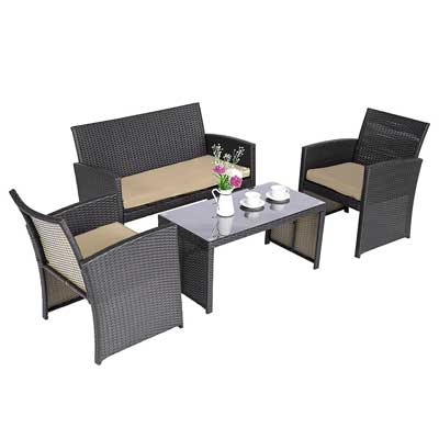 Cloud Mountain 4 Piece Rattan Furniture Set