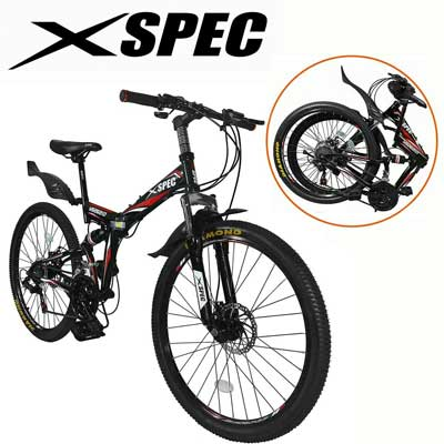 "Xspec 26"" 21-Speed Folding Mountain Trail Bicycle Commuter Foldable Bike"