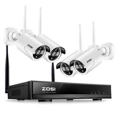 ZOSI 4CH 1080P HD Wireless Outdoor Indoor Home Security Camera