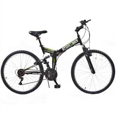 "Stowabike 26"" MTB V2 Folding Dual Suspension 18 Speed Shimano Gears Mountain Bike"
