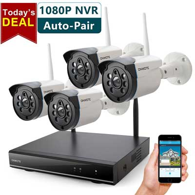 ONWOTE 1080P HD NVR Outdoor Wireless Security Camera System