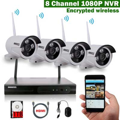 OOSSXX 8-Channel HD 1080P Wireless Network/IP Security Camera System