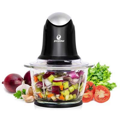POSAME Food Chopper 1Liter One-Touch Glass Bowl Food Processor