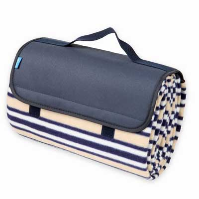 Yodo Outdoor Water-Resistant Picnic Blanket Tote, Fall-Winter Stripe