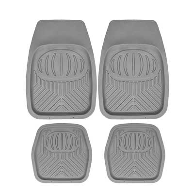 Mann Pack of 4 Front & Rear, Driver & Passenger Seat Ridged Heavy Duty Rubber Car Mat