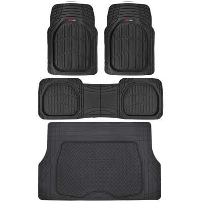 Motor Trend 4Pc Black Car Floor Mats Set Rubber Tortoise Liners