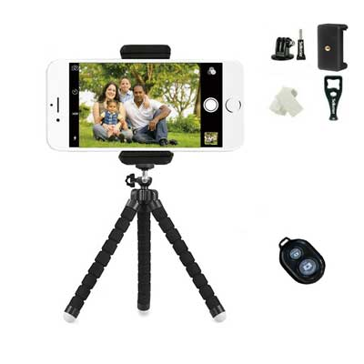 Phone Tripod, Sellemer Flexible and Adjustable Tripod Bluetooth Camera
