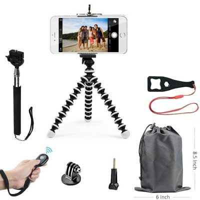 SMILEPOWO Lightweight Mini Tripod and Universal Smartphone Tripod Adapter