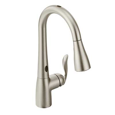 10. Moen Arbor Motionsense Two Sensor Touchless One Handle High Arc  Pulldown Kitchen Faucet