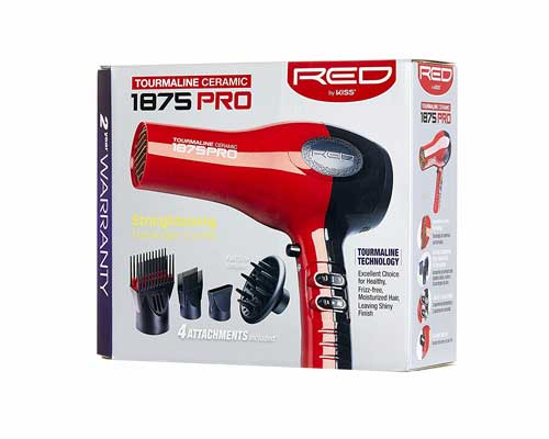 Red by Kiss 1875 Pro Watt Ceramic Tourmaline Hair Dryer