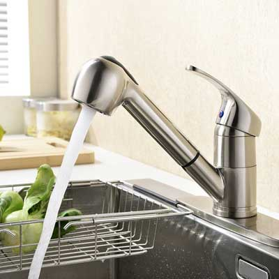 KINGO HOME Modern Brushed Nickel Single Handle Pull Out Sprayer Bar Kitchen Faucet