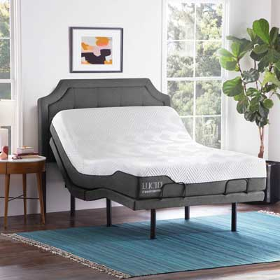 Lucid L300 Adjustable Bed Base, 12'' Memory Foam Hybrid Mattress
