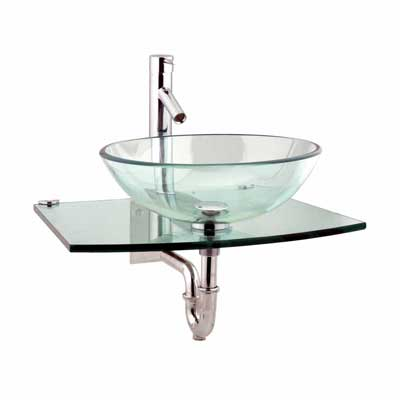 Halo Clear Tempered Glass Vessel Sink Complete Set