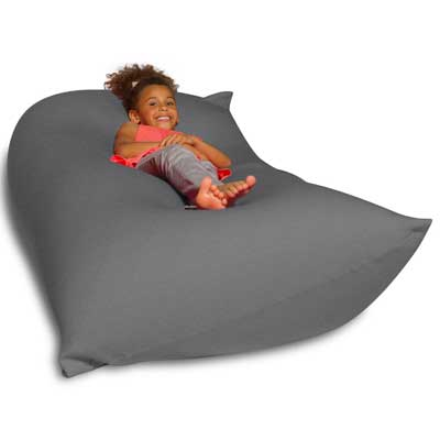 Big Squishy Portable and Stylish Bean Chair, Medium, Gray