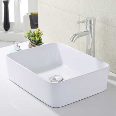 KES Bathroom Rectangular Porcelain Vessel Sink Above Counter White