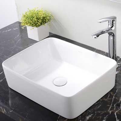 Ufaucet Modern Porcelain Above Counter White Ceramic Bathroom