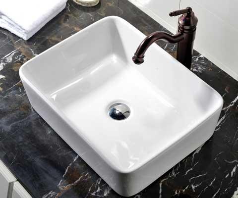 VCCUCINE Rectangular Above Counter Porcelain Ceramic Bathroom Vessel Vanity Sink