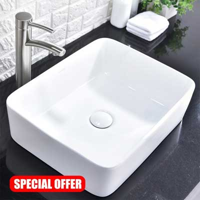 Comllen Above Counter White Porcelain Ceramic Bathroom Vessel Sink
