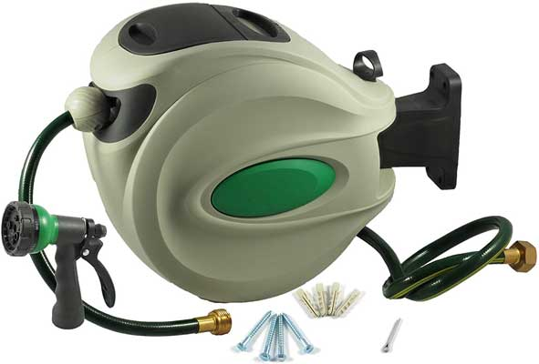 ikris Retractable Garden Water Hose Reel with 50 Feet Hose of 0.5 diameter