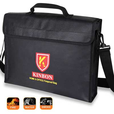 Fireproof Bag, KINBON Fireproof Waterproof Document Money File Bag