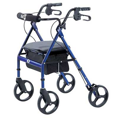 Hugo Portable Rollator Walker with Seat, Backrest and 8-Inch Wheels