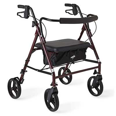 Medline Heavy Duty Bariatric Mobility Rollator with 8-Inch Deluxe Wheels